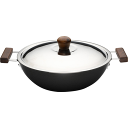 Photo of Wonderchef Ebony Hard Anodised Aluminium Wok with Lid 4.5 Litres/28cm - Black/Brown