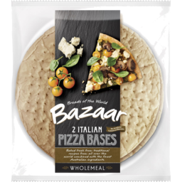 Photo of 	BAZAAR GOURMET PIZZA BASES WHOLEMEAL 2PK