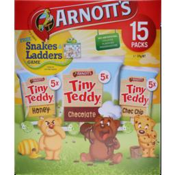 Photo of Arnotts Tiny Teddy Honey, Chocolate And Choc Chip 15 Packs 375g