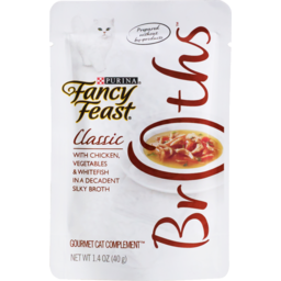 Photo of Purina Fancy Feast Broths Classic With Chicken, Vegetables & Whitefish in a Decadent Silky Broth 40g