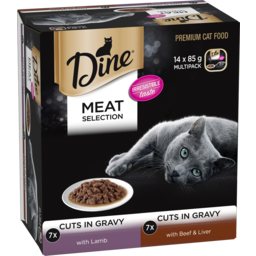 Photo of Dine Wet Cat Food Meat Selection In Gravy 14x85g Trays