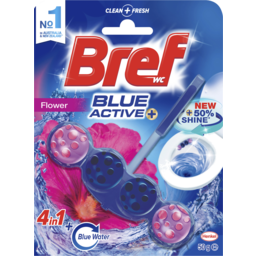 Photo of Bref Blue Active Flower, Rim Block Toilet Cleaner, 50g
