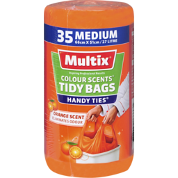 Photo of Multix Colour Scents Handy Ties Tidy Bags Medium 35 Pack | Orange Scent