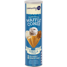 Photo of Community Co Double Scoop Waffle Cones Vanilla Flavour 8 Pack