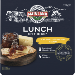 Photo of Mainland On The Go Tasty Cheese, Crackers & Caramelised Onion Relish 110gm