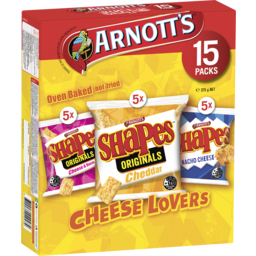 Photo of Arnotts Shapes Cheese Lovers, Cheese & Bacon, Cheddar And Nacho Cheese 15 Packs 375g