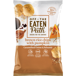 Photo of Off The Eaten Path Caramelised Onion & Balsamic Brown Rice Chips With Pumpkin 75g