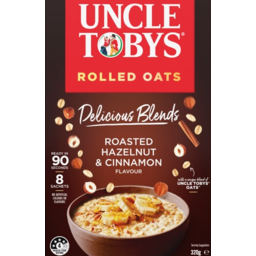 Photo of Uncle Tobys Rolled Oats Delicious Blends Roasted Hazelnut & Cinnamon 8 Pack 320g.