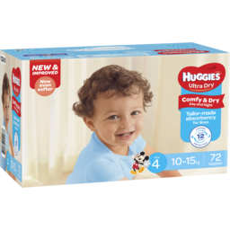 Photo of Huggies Ultra Dry Nappies, Boys, Size 4 Toddler (10 - 15kg), 72 Nappies