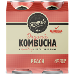 Photo of Remedy Kombuha Peach 4x250ml
