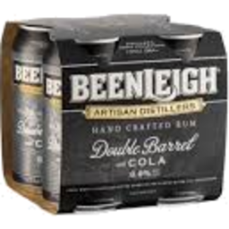Photo of Beenleigh Double Barrel & Cola 375ml 4 Pack