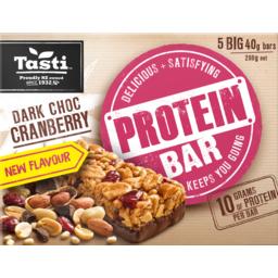 Photo of Tasti Protein Bar Dark Choc Cranberry 5 Pack 200g
