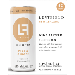 Photo of Leftfield Wine Seltzer Pear & Ginger 4x250ml