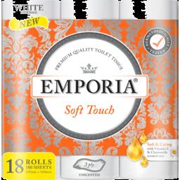 Photo of Emporia Toilet Roll White Soft Touch 3ply 18pk