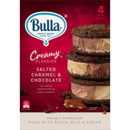 Photo of Bulla Creamy Classics Salted Caramel & Chocolate Ice Cream Sandwiched By Choc Cookies 4 Pack 560ml