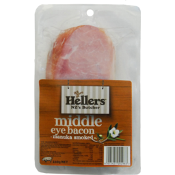 Photo of Hellers Middle Eye Bacon Manuka Smoked 250g