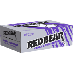 Photo of Red Bear Vodka Passionfruit 375ml 24 Pack