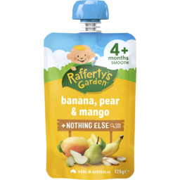 Photo of Raffertys Garden Banana, Pear & Mango Premium Baby Food 4m+ 120gm