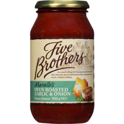Photo of Five Brothers Marcellos Oven Roasted Garlic & Onion Pasta Sauce 500g