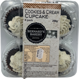 Photo of Bernards Bakery Cupcake Cookies & Cream 4pk 288gm