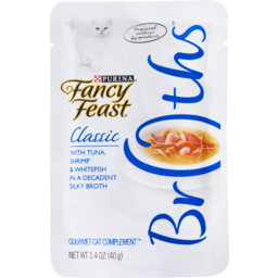 Photo of Purina Fancy Feast Broths Classic With Tuna, Shrimp & Whitefish in a Decadent Silky Broth 40g