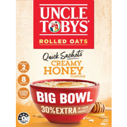 Photo of Uncle Tobys Oats Creamy Honey Big Bowl Quick Sachets 8 Pack 368g