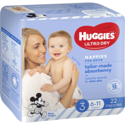 Photo of Huggies Ultra Dry Nappies Crawler Boys 22pk