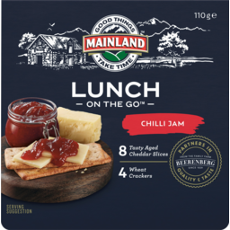 Photo of Mainland On The Go Lunch Tasty Aged Cheddar Cheese Slices With Chilli Jam And Wheat Crackers 110g