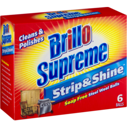 Photo of Brillo Supreme Strip & Shine Soap Free Steel Wool Balls - 6 Ct