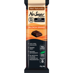 Photo of Well Naturally Nsa Dark Chocolate Valencia Orange 45g