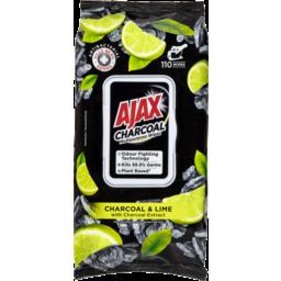 Photo of Ajax Multipurpose Antibacterial Wipes Plant Based Charcoal & Lime 110 Pack