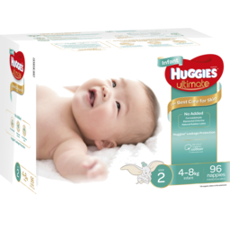Photo of Huggies Ultimate Nappies Unisex Size 2 Infant (4 - 8kg) 96 Pack