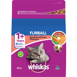 Photo of Whiskas 1+ Years Furball Sardine & Prawn Flavours Dry Cat Food 800g