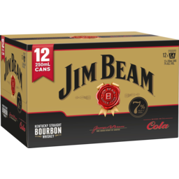 Photo of Jim Beam Gold & Cola 7% 250ml Cans 12 Pack