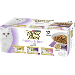 Photo of Fancy Feast Cat Food Canned Poultry & Beef Feast Variety Sliced 12 pack