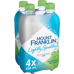 Photo of Mount Franklin Lightly Sparkling Water Lime Multipack Bottles 4x450ml