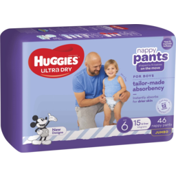 Photo of Huggies Ultra Dry Nappy Pants Boys Size 6 (15+Kg) 46 Pac