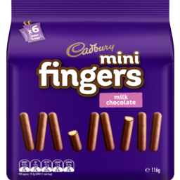 Photo of Cadbury Mini Fingers Milk Chocolate Biscuits 6 Pack 116g
