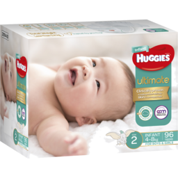 Photo of Huggies Ultimate Nappies, Unisex, Size 2 Infant (4 - 8kg), 96 Nappies