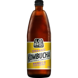 Photo of Lo Bros Organic Kombucha Mango & Passionfruit Naturally Low In Sugar Sparkling Live Cultured Drink 750ml
