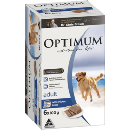 Photo of Optimum Wet Dog Food With Chicken & Rice 6x100g Trays