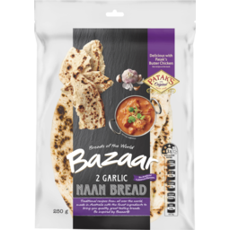 Photo of Bazaar® Naan Bread Garlic 2 Pack