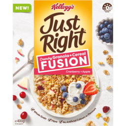 Photo of Kelloggs Just Right Fusion Crunchy Granola & Cereal Cranberry & Apple 400g