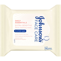 Photo of Johnson's Face Care Daily Essentials Facial Cleansing Wipes Extra Sensitive 25 Pack
