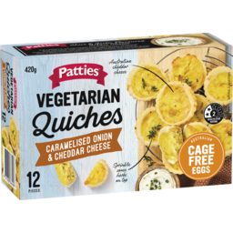 Photo of Patties Mini Quiche Cheese & Onion 12pk