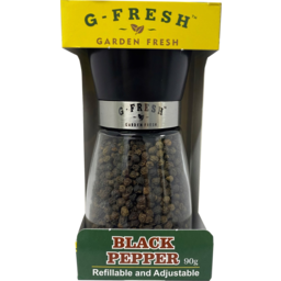 Photo of G Fresh Whole Black Peppercorn Grinder Refillable & Adjustable 90g