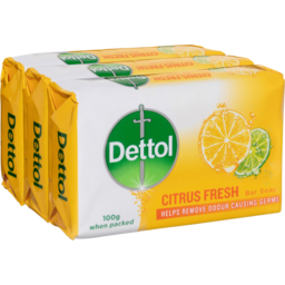 Photo of Dettol Citrus Fresh Bar Soap 3x100g