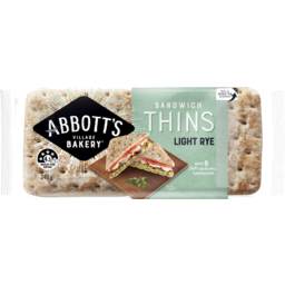 Photo of Abbott's Village Bakery Sandwich Thins Light Rye 240g