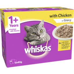 Photo of Whiskas 1+ Years Wet Cat Food Favourites Chicken In Gravy 12x85g Pouch