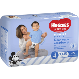 Photo of Huggies Ultra Dry Nappies, Boys, Size 4 Toddler (10-15kg), 36 Nappies Bulk Packs